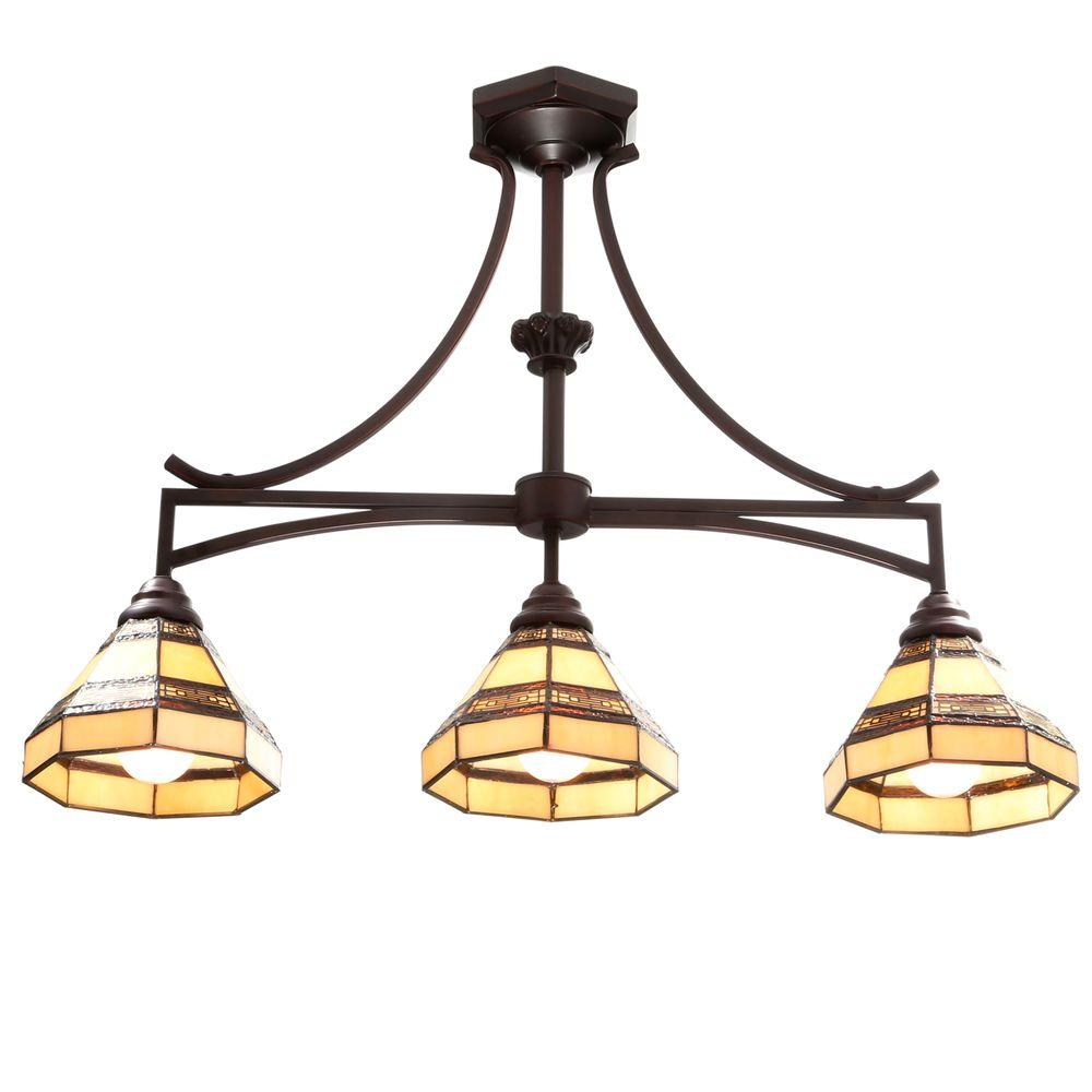 Glass Lamp Ceiling Hampton Bay Addison 3 Light Oil Rubbed Bronze Kitchen Island Light With Tiffany Style Stained Glass Shades