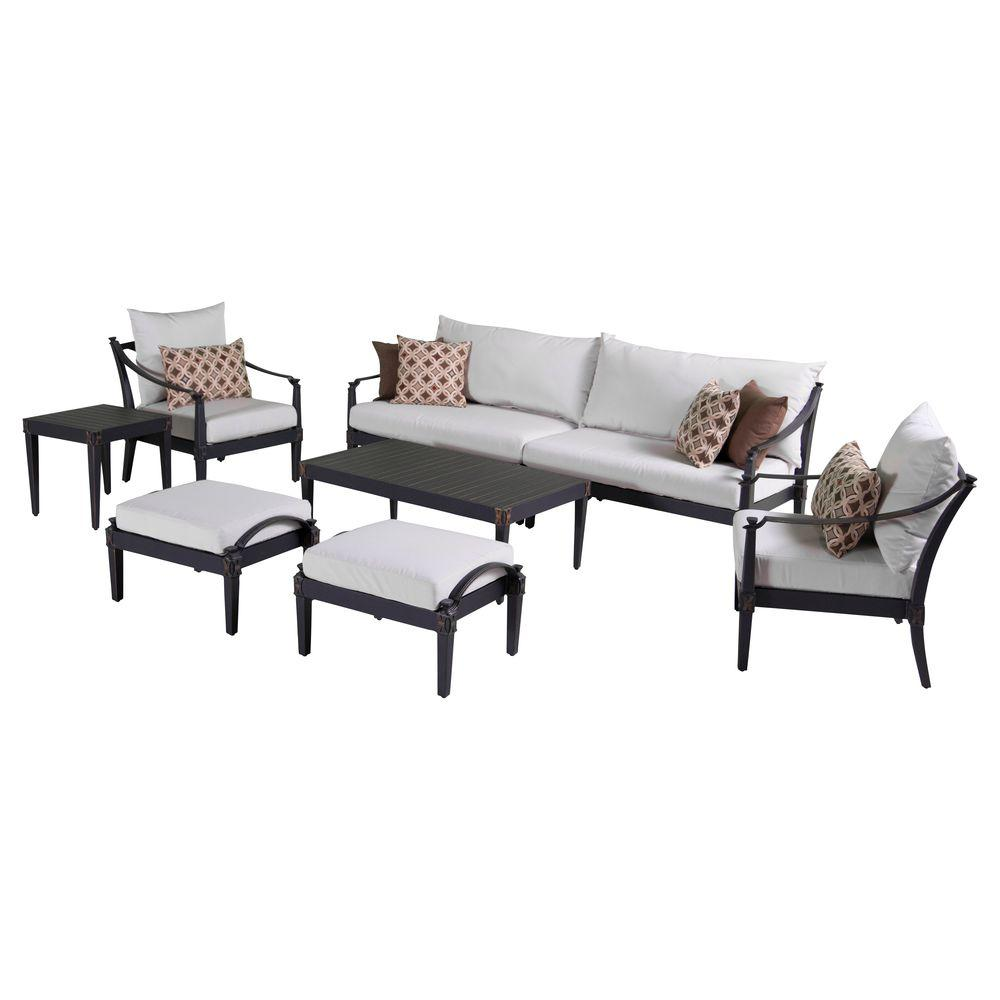 Sofa Entertainment Group Llc Rst Brands Astoria 8 Piece Patio Sofa And Club Chair Deep Seating Group With Moroccan Cream Cushions