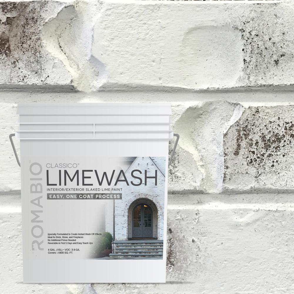 Lime Wash Brick Fireplace Romabio 4 Gal Bianco White Limewash Interior Exterior Paint