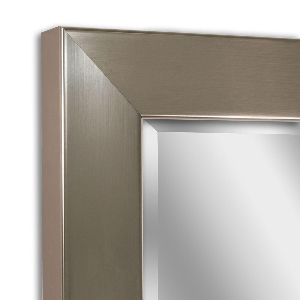 Decorative Brushed Nickel Mirror Glacier Bay 28 In X 22 In Framed Mirror In Brushed Nickel