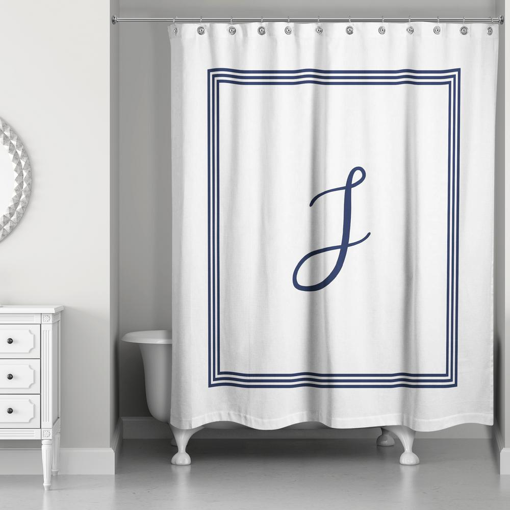 Air Curtain Shower Designs Direct 71 In W X 74 In L Navy Blue And White Letter J Monogrammed Fabric Shower Curtain