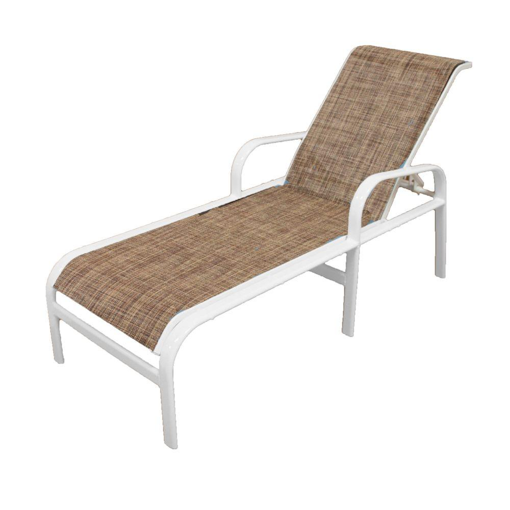 White Sun Lounge Marco Island White Commercial Grade Aluminum Outdoor Patio Chaise Lounge With Chesterfield Sling