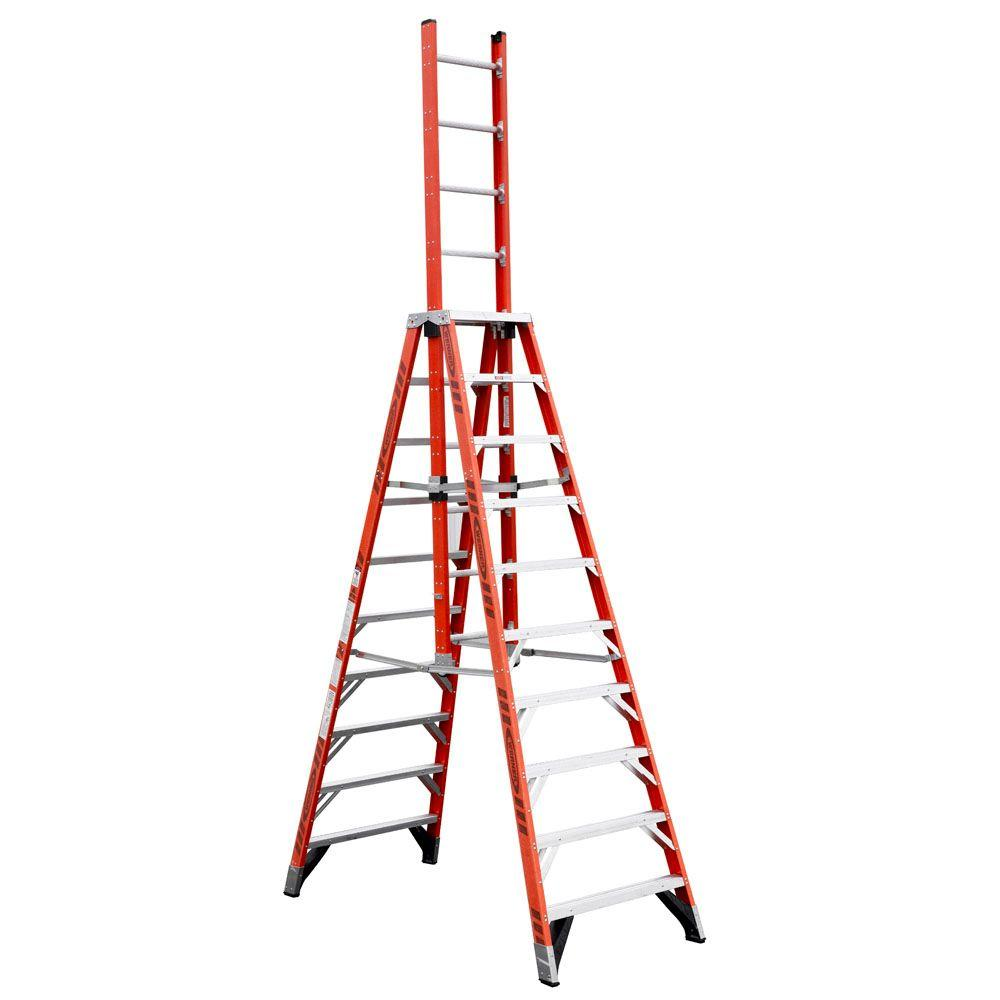 20' Ladder Home Depot Werner 16 Ft Fiberglass Extension Trestle Step Ladder With 300 Lb Load Capacity Type Ia Duty Rating