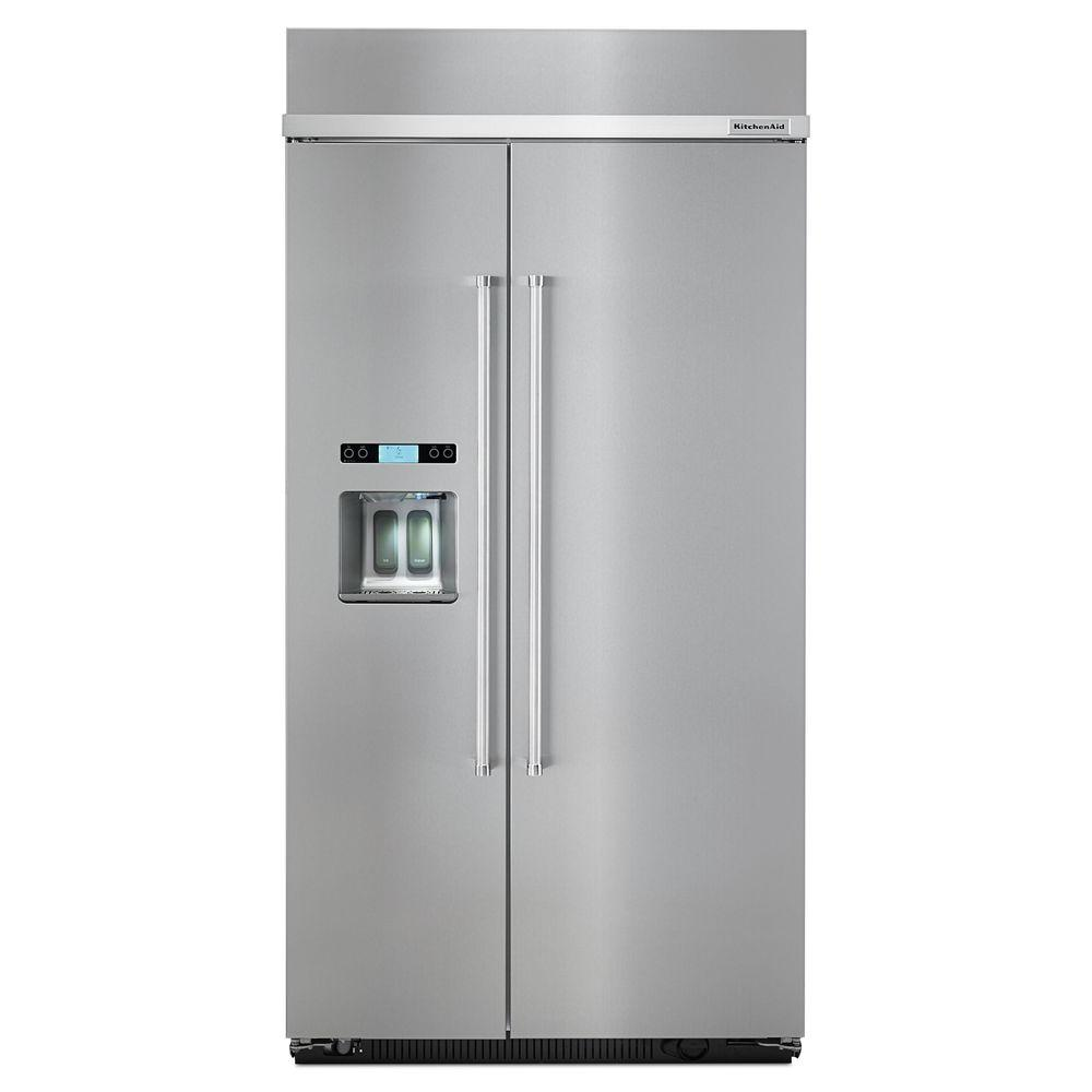 Home Depot Fridges Canada Kitchenaid 25 Cu Ft Built In Side By Side Refrigerator In Stainless Steel