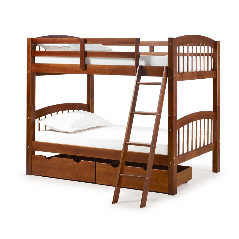 Under Bed Storage Frame Spindle Chestnut Twin Over Twin Wood Bunk Bed With Under Bed Storage Drawers