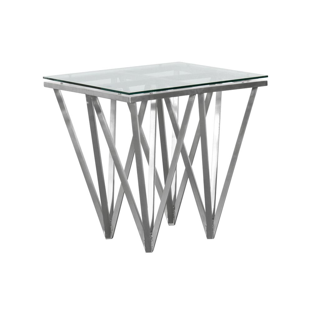 Metal Glass End Tables Armen Living Tempered Glass Top Contemporary Square End Table In Brushed Stainless Steel