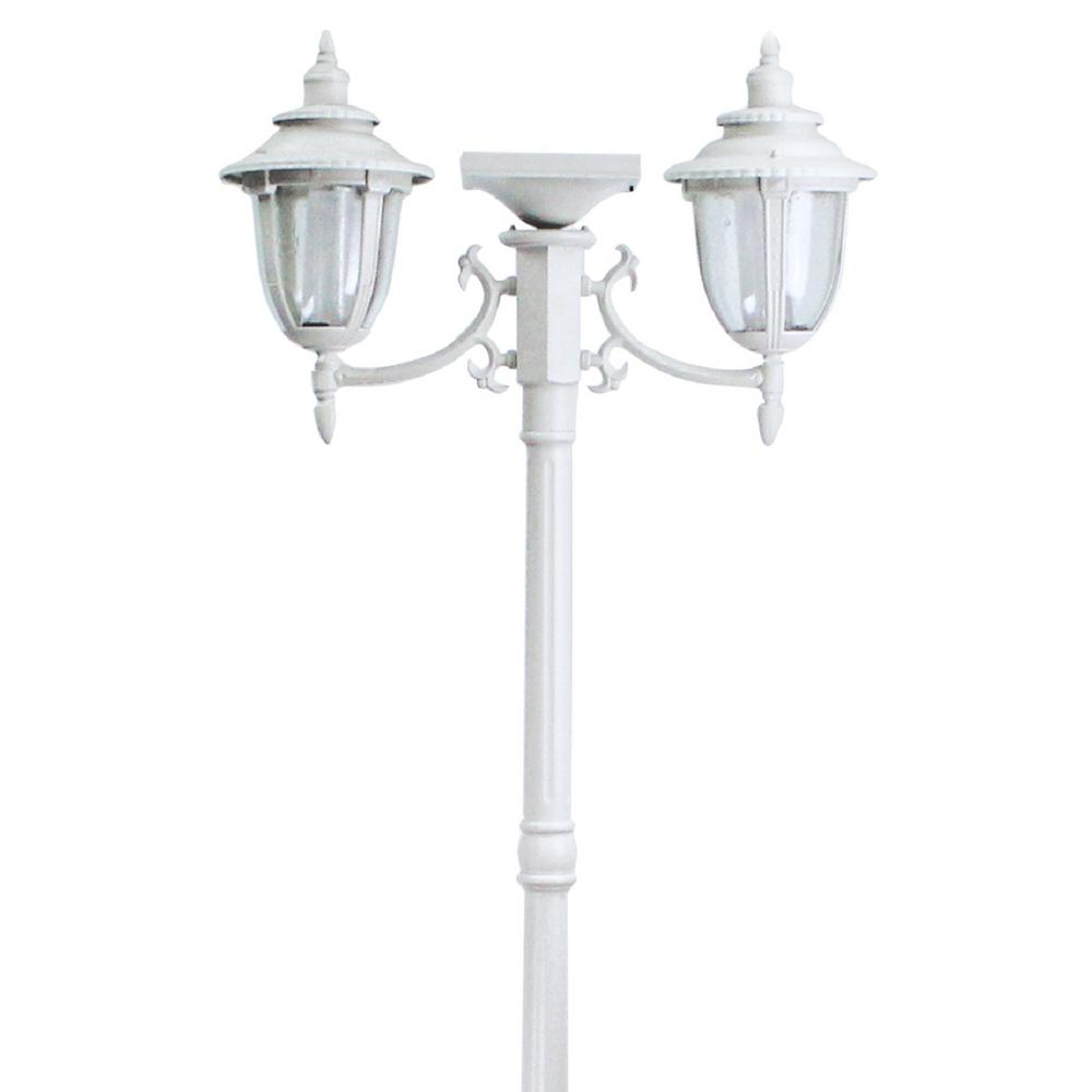 Solar Lamp Post Sunray Hannah 2 Light Outdoor White Integrated Led Solar Lamp Post An Planter