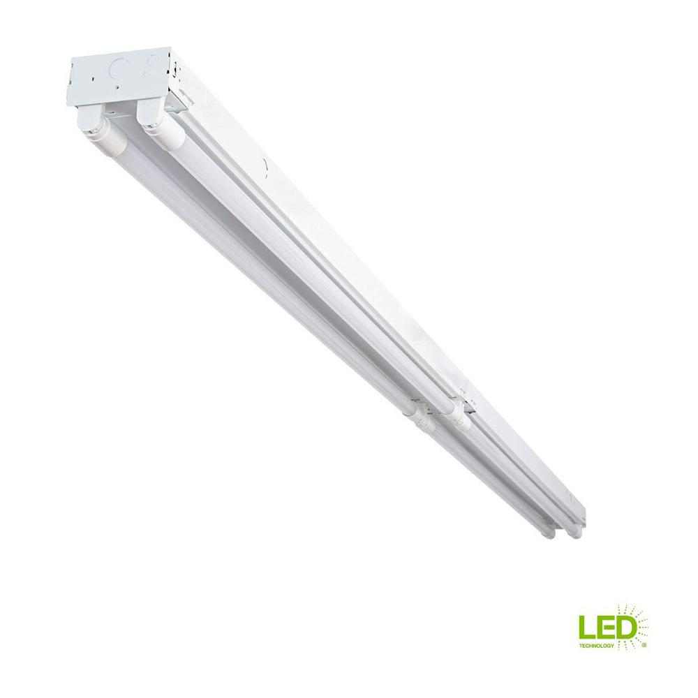Led Light Strips At Home Depot Envirolite 8 Ft 4 Light White Industrial Led White Strip Light With T8 Led 5000k Tubes