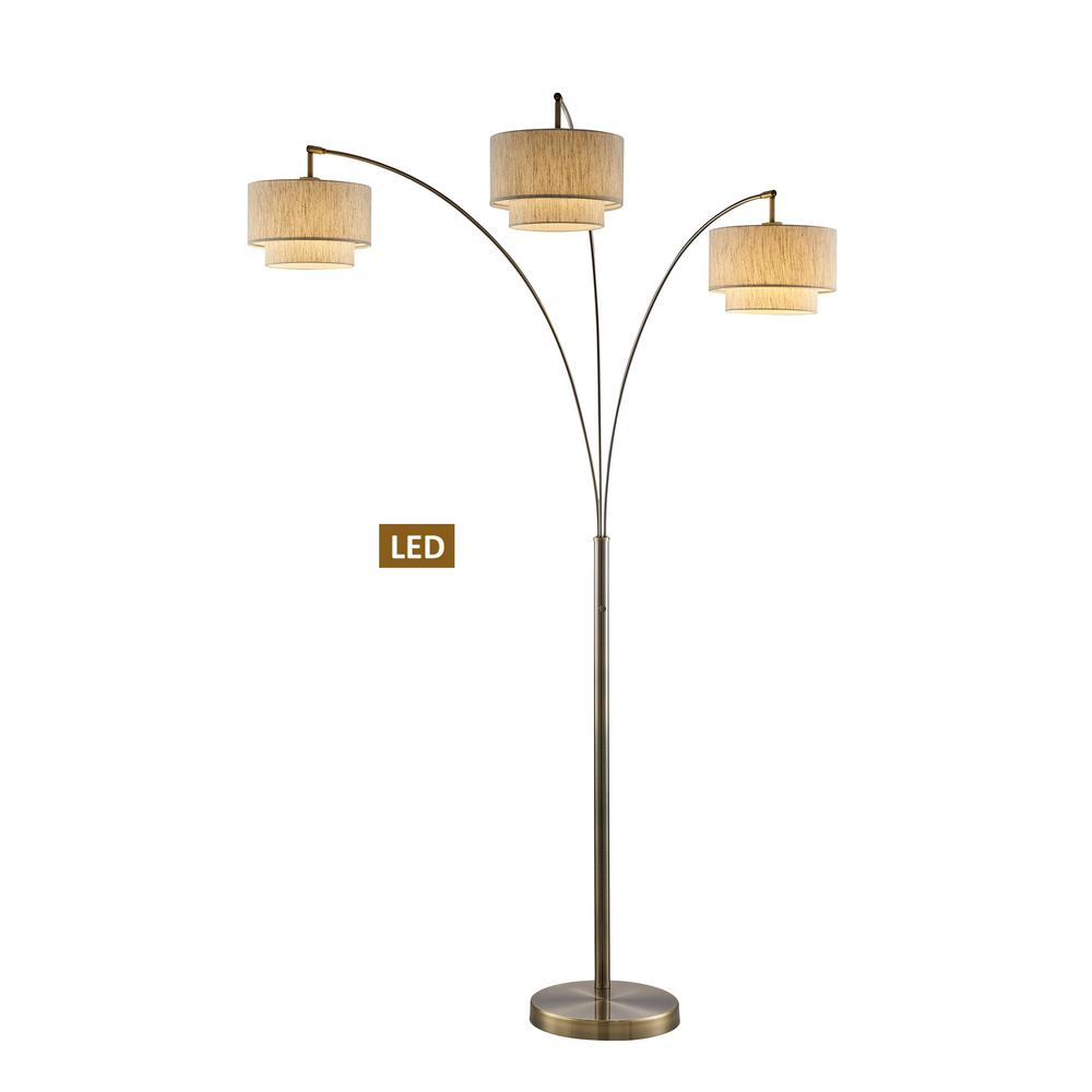Artiva Lumiere Iii 83 In Antique Brass Double Shade Led