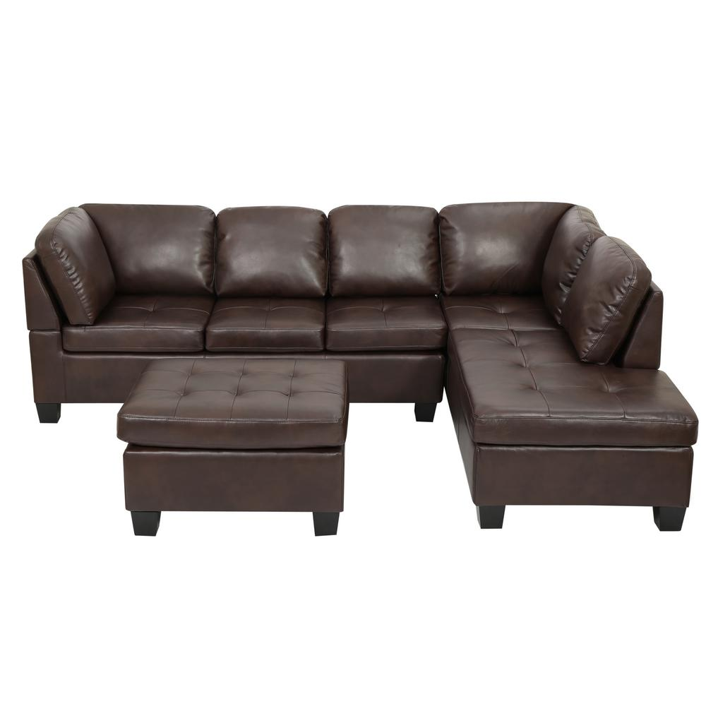 Brown Real Leather Couch Noble House 3 Piece Brown Tufted Seat Pu Leather Sectional And Ottoman Set