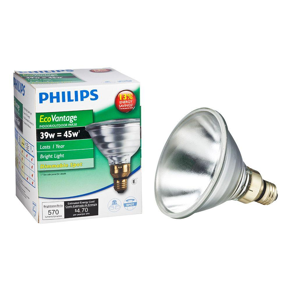 Halogen Spotlight Bulbs Philips 39 Watt Equivalent Halogen Par38 Indoor Outdoor Spotlight Bulb