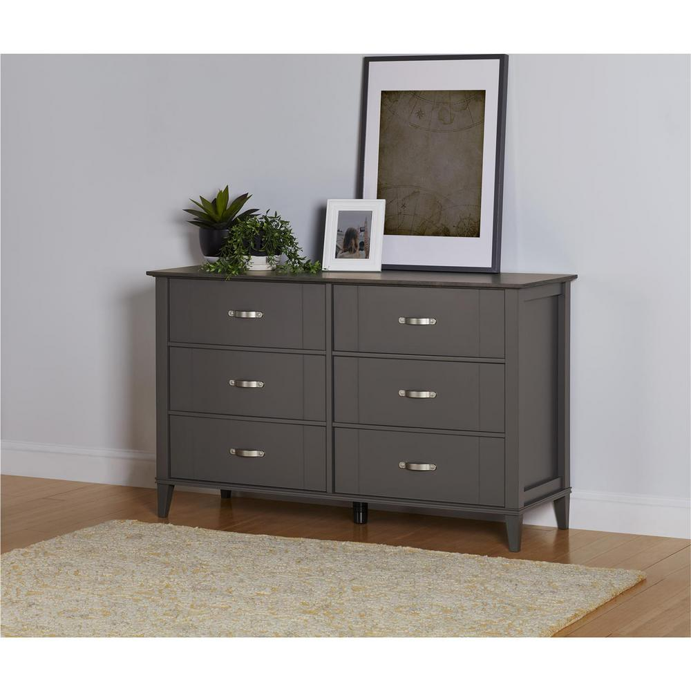 Dark Gray Dresser Altra Furniture Quinn 6-drawer Dark Gray Two Tone Dresser
