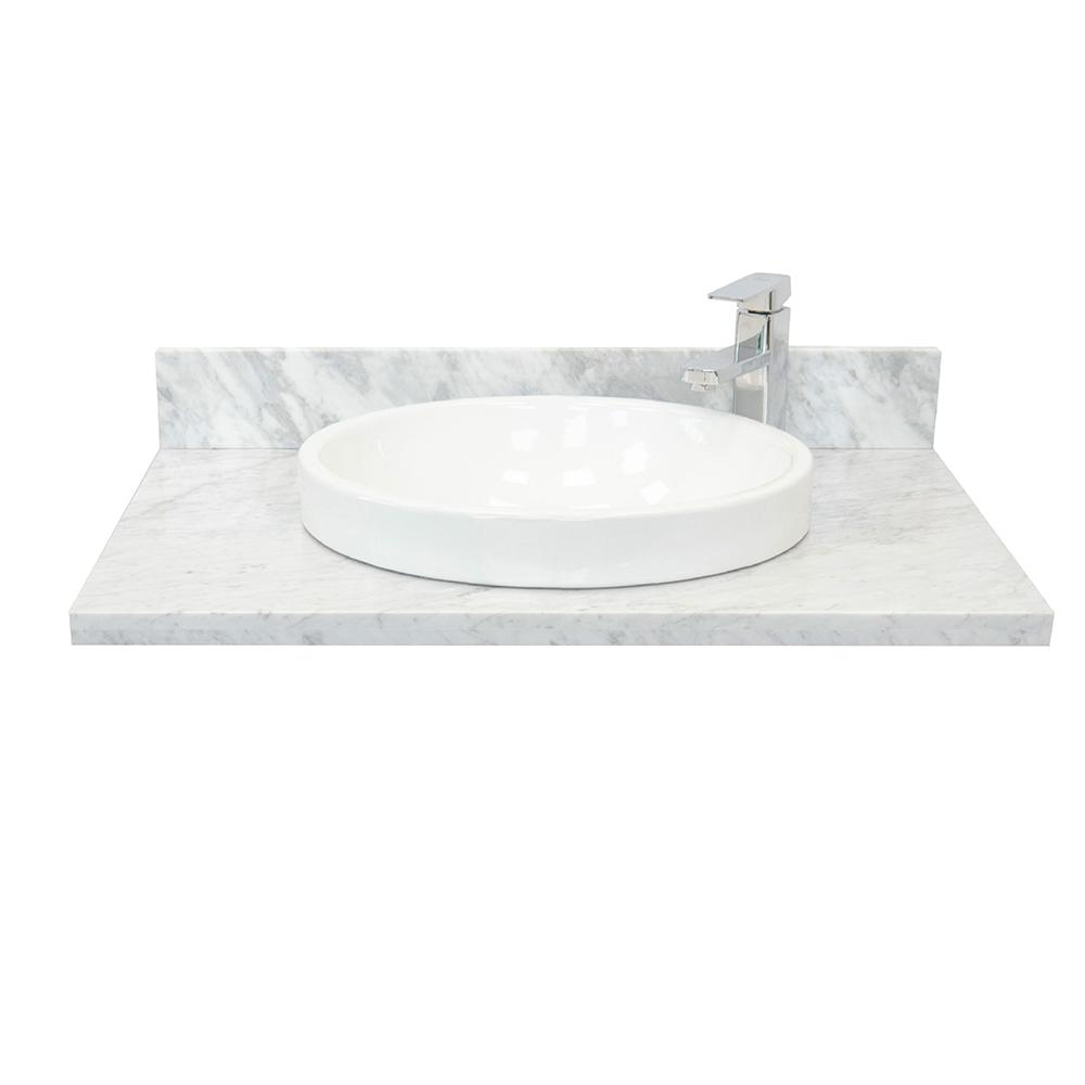 Marble Basin Bellaterra Home Ragusa Iii 31 In W X 22 In D Marble Single Basin Vanity Top In White With White Round Basin