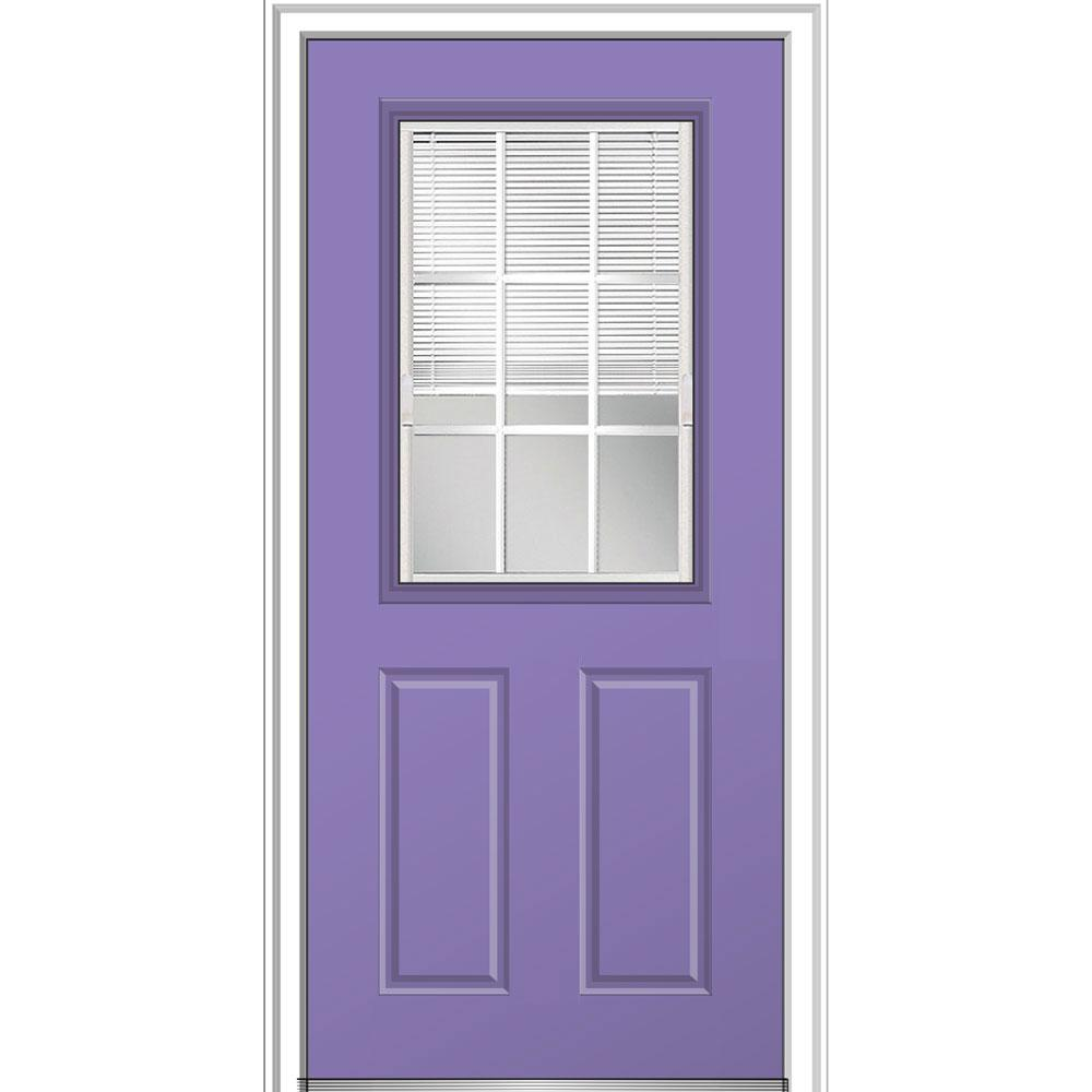 E Screen Blinds Mmi Door 32 In X 80 In Internal Blinds Gbg Low E Glass Left Hand 1 2 Lite Clear Painted Fiberglass Smooth Prehung Front Door