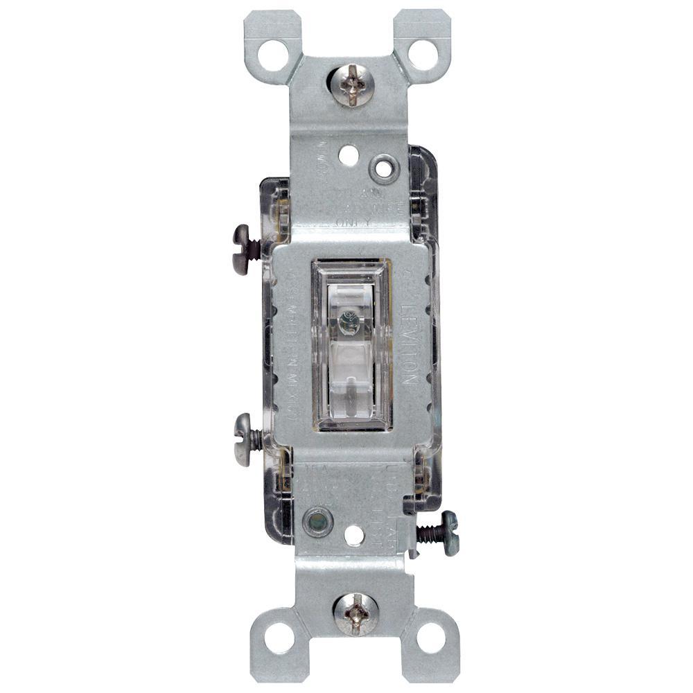 Leviton 15 Amp Illuminated Toggle Switch, Clear-R50-01461-0LC - The