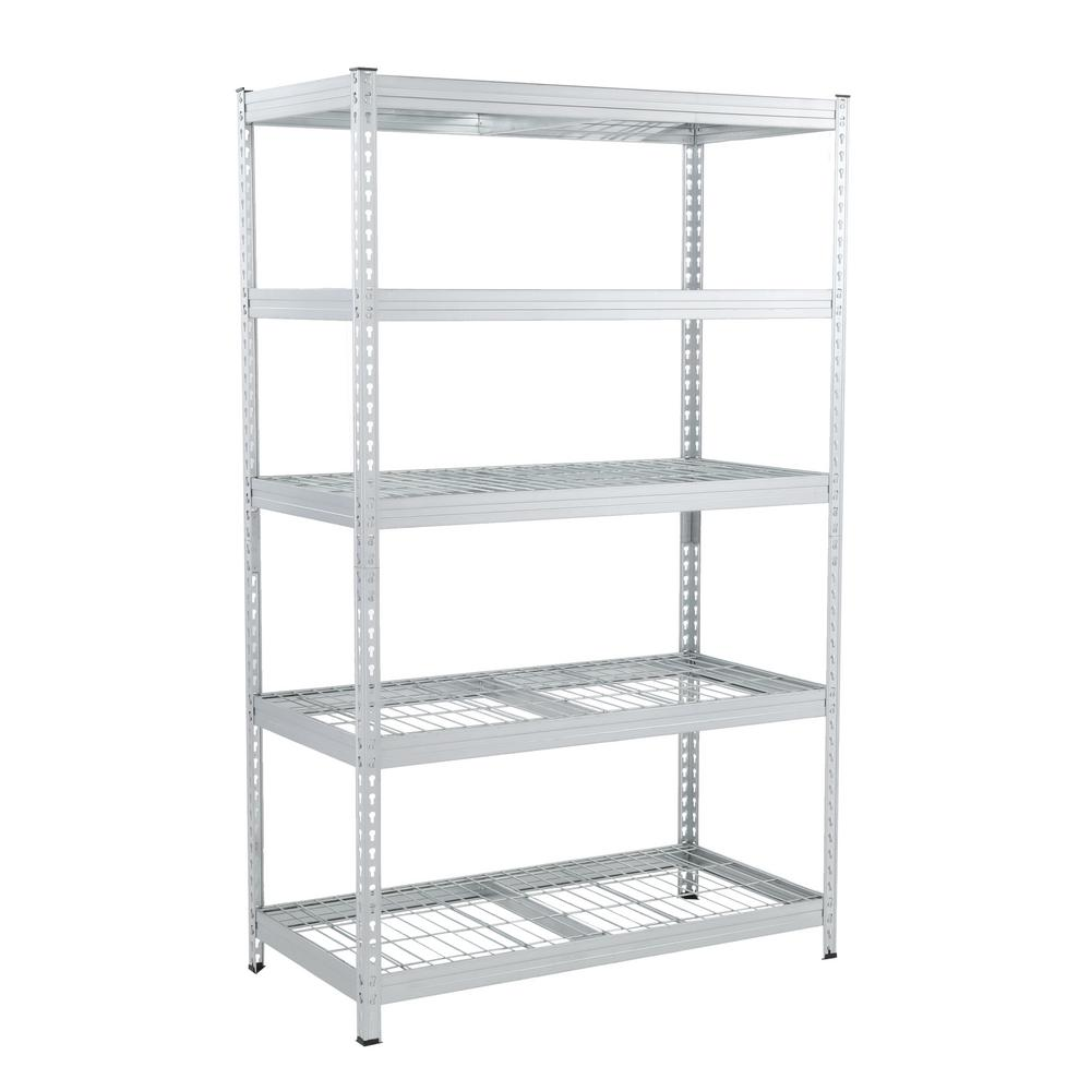 Metal Shelving Husky 78 In H X 48 In W X 24 In D Galvanized Steel 5 Tier Shelf With Wire Mesh Panels