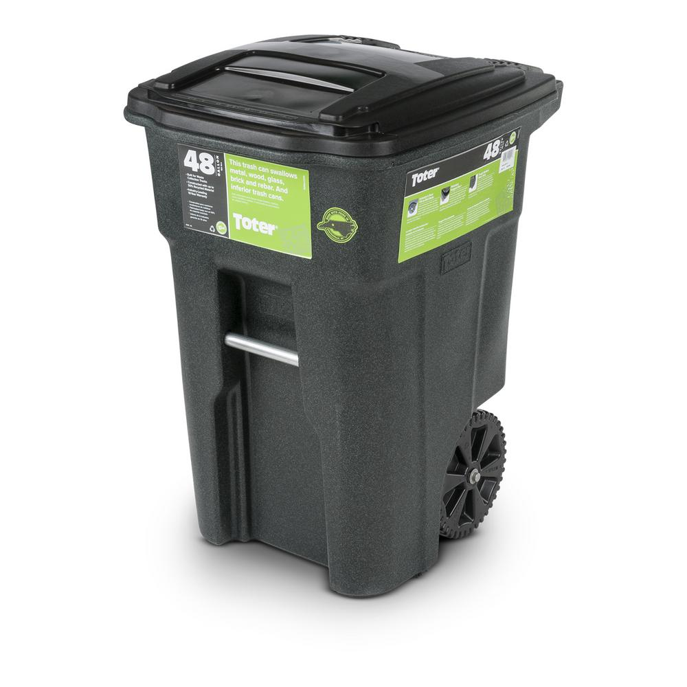 Garbage Bins Walmart Toter 48 Gal Greenstone Trash Can With Wheels And Attached Lid