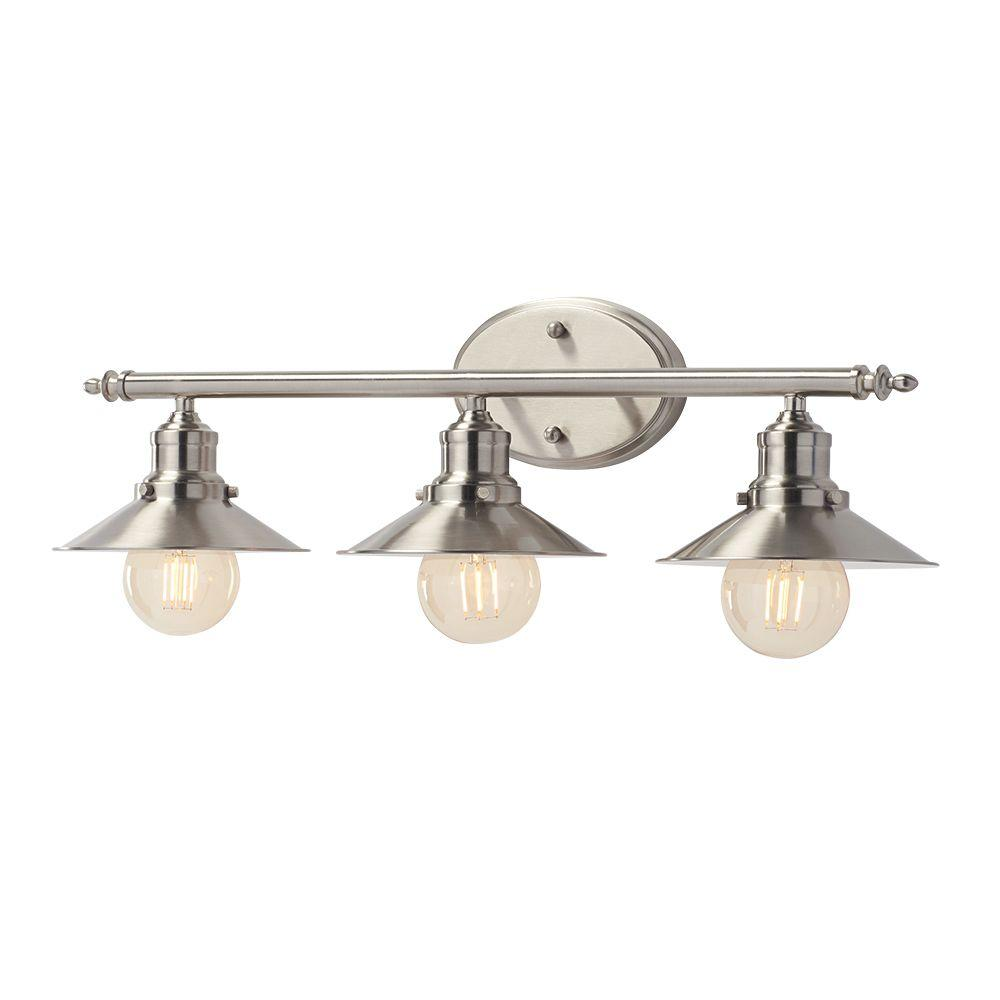Lighting Fixtures Home Decorators Collection Glenhurst 3 Light Brushed Nickel Retro Vanity Light With Metal Shades
