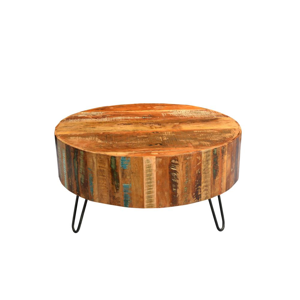 Vintage Sideboard Hairpin Legs Tulsa Multi Colored Reclaimed Wood Round Coffee Table With Hairpin Legs