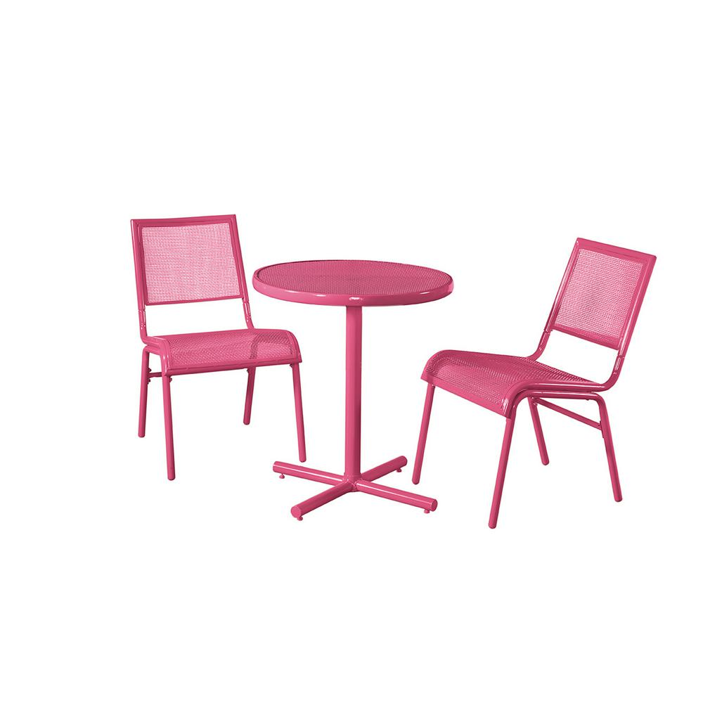 Chaise Metal Bistro Liberty Garden Pink 3 Piece Metal Bixby Outdoor Bistro Set