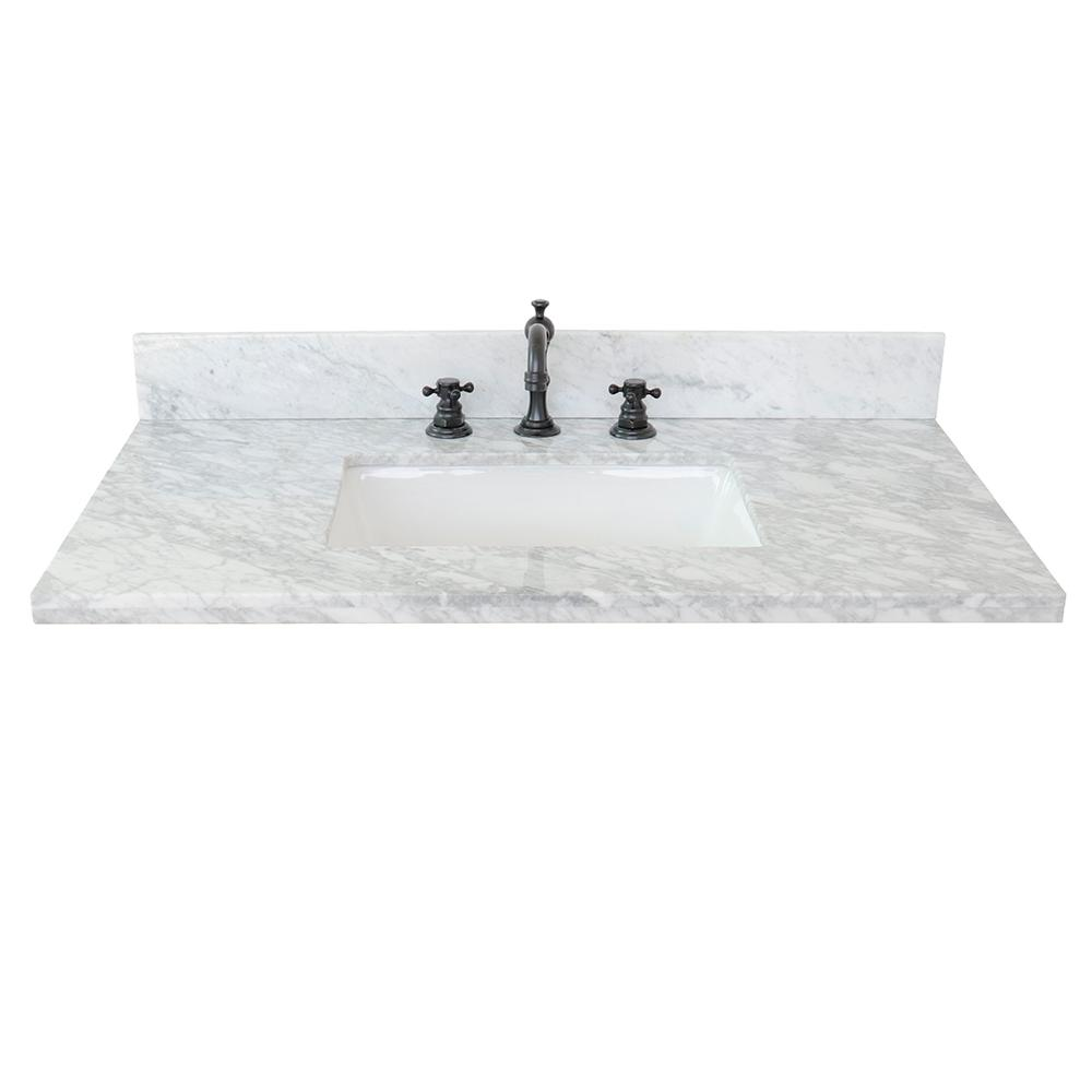 Marble Basin Bellaterra Home Ragusa Ii 37 In W X 22 In D Marble Single Basin Vanity Top In White With White Rectangle Basin