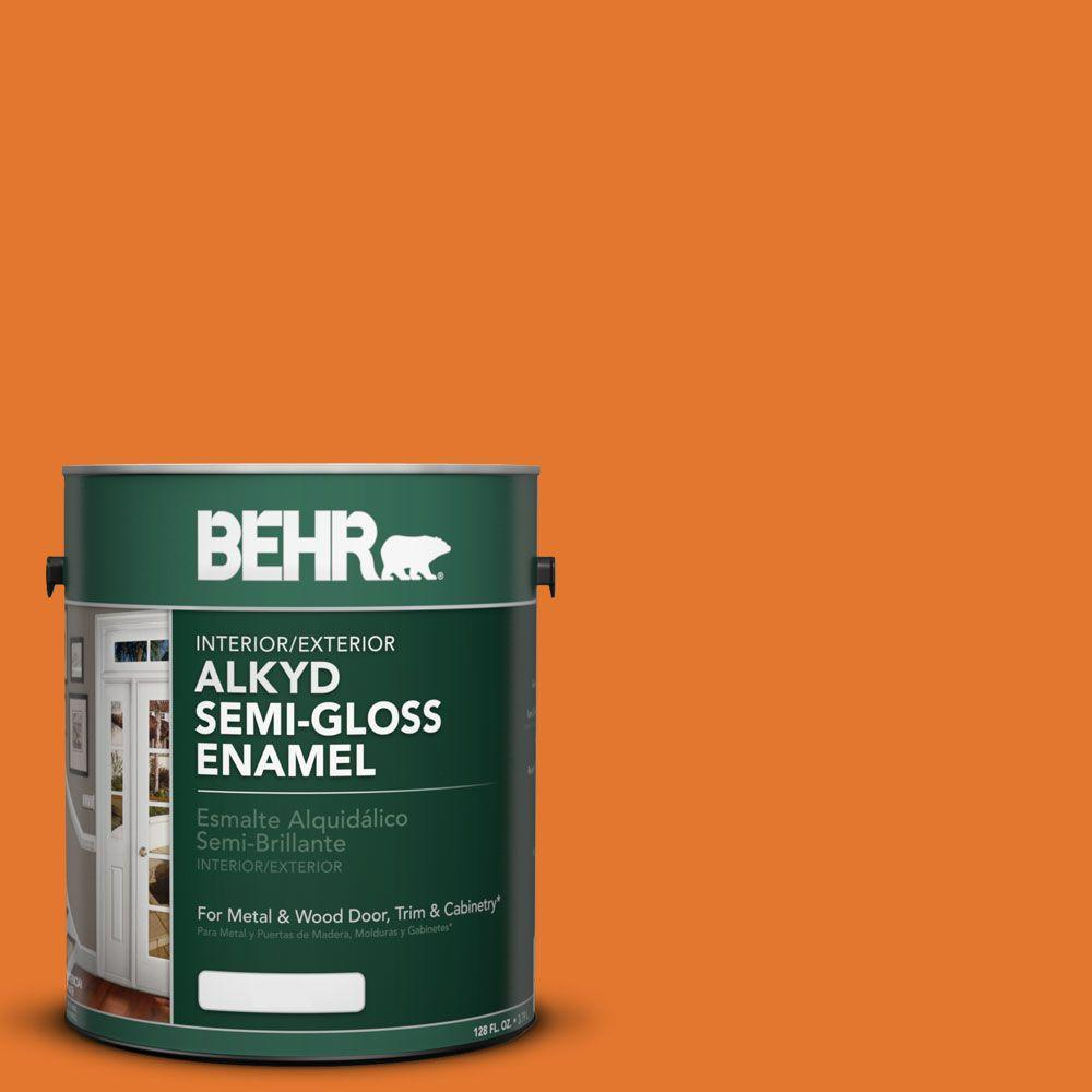 Orange Exterior Paint Behr 1 Gal Osha 3 Safety Orange Semi Gloss Enamel Alkyd Interior Exterior Paint