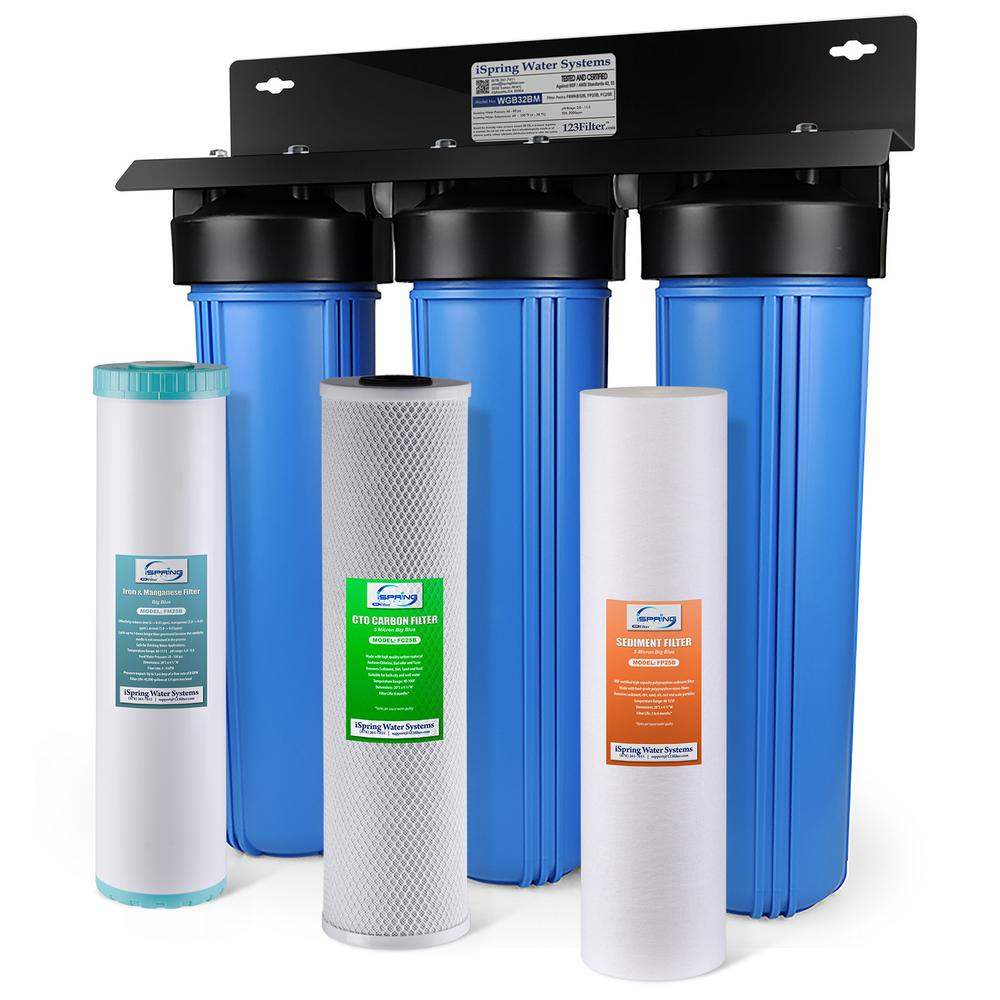 Carbon Water Filter System Ispring Littlewell 3 Stage Iron Manganese Reduction 100 000 Gal Whole House Water Filter With Sediment And Fine Carbon Block