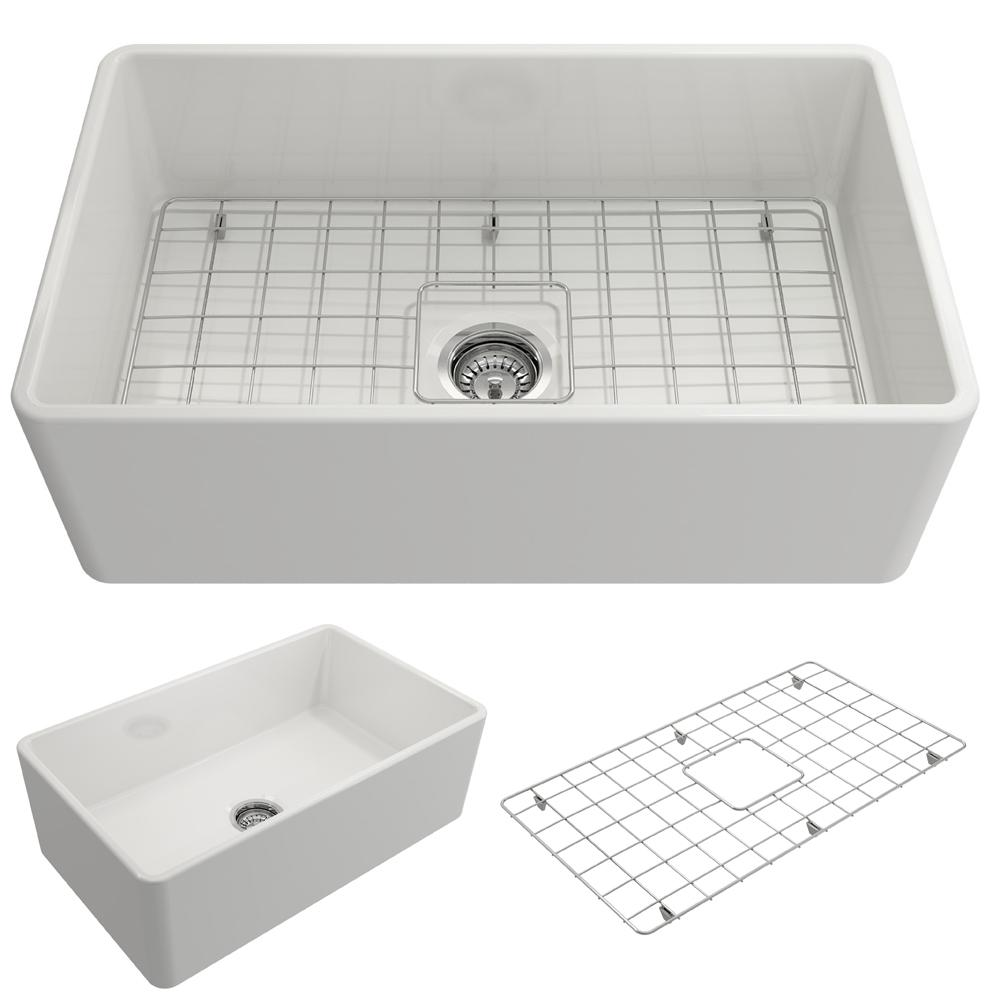 White Farmhouse Sinks For Sale Bocchi Classico Farmhouse Apron Front Fireclay 30 In Single Bowl Kitchen Sink With Bottom Grid And Strainer In White