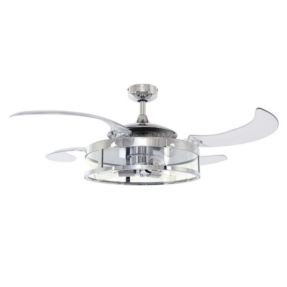 Ceiling Fan With Folding Blades Fanaway Classic 48 In Indoor Chrome And Clear Ac Ceiling Fan With Light Kit And Remote Control