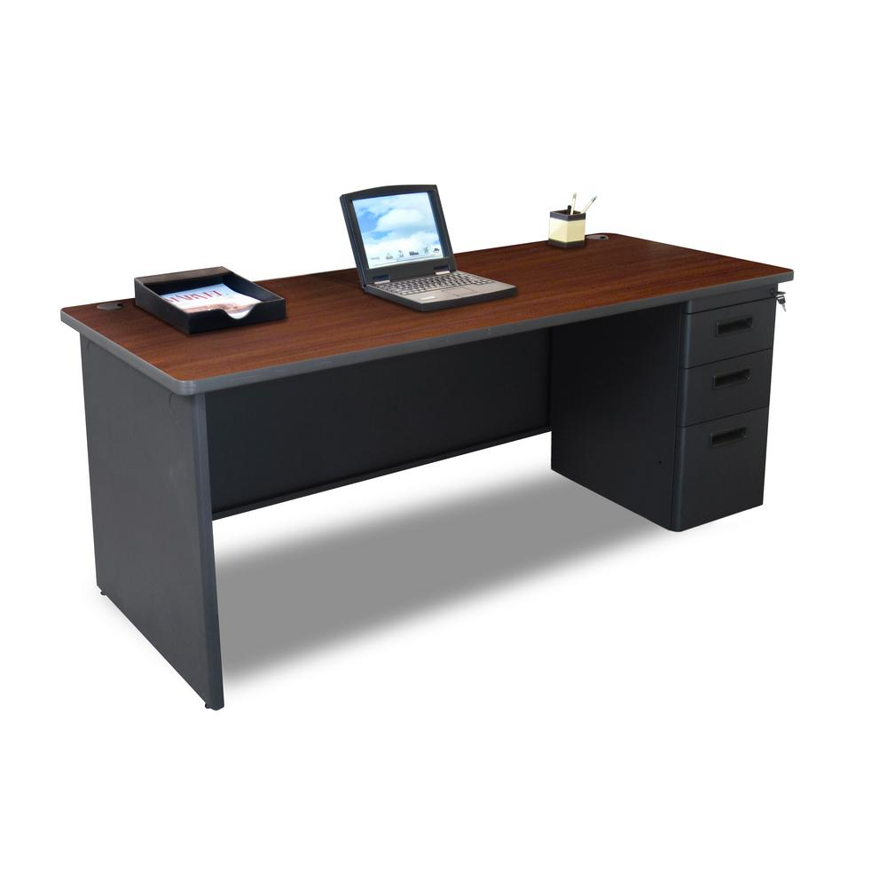 Mahogany Office Desk Pronto 72 In W X 36 In D Mahogany Laminate And Dark Neutral Single Full Pedestal Desk