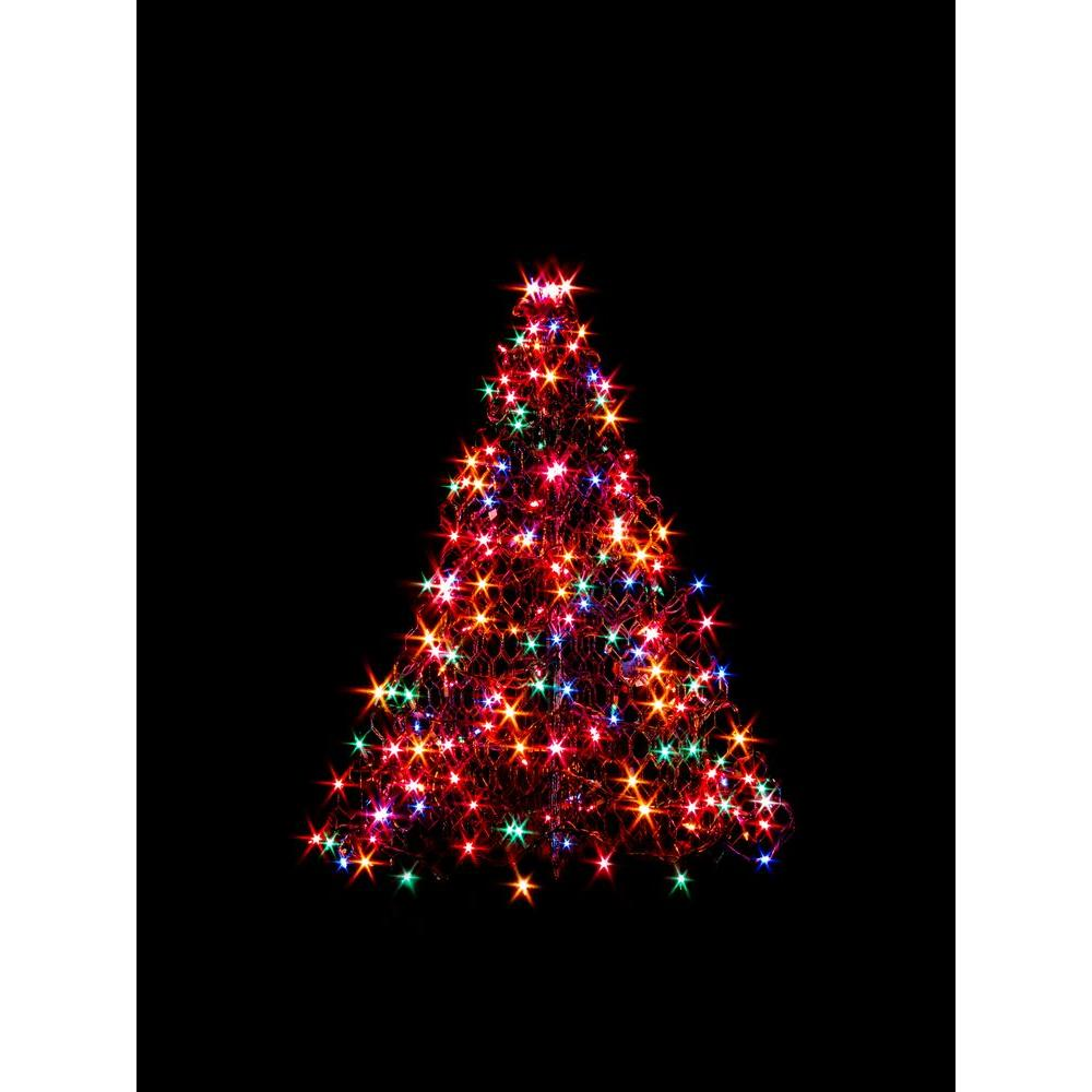 Lit En 200 Crab Pot Trees 3 Ft Indoor Outdoor Pre Lit Incandescent Artificial Christmas Tree With Green Frame And 200 Multi Color Lights