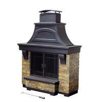 Sunjoy Jasper 72 in. Steel and Faux Stack Stone Outdoor ...