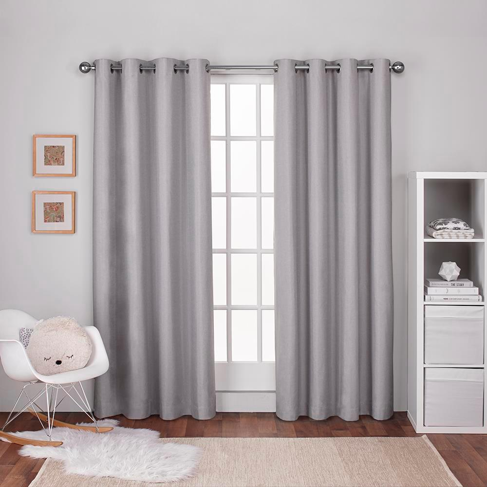 Grey Thermal Curtains Textured Linen Dove Grey Thermal Grommet Top Window Curtain
