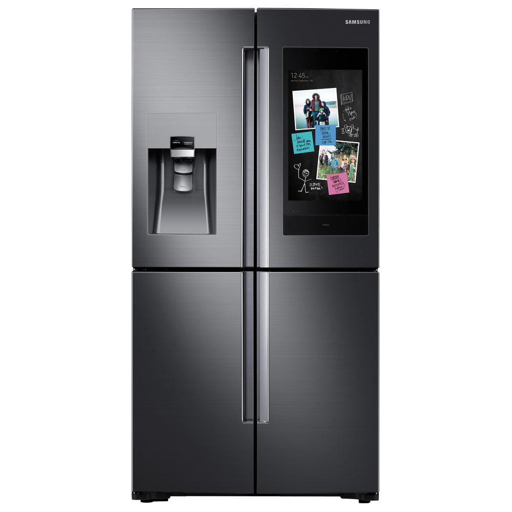 Home Depot Fridges Canada Samsung 22 Cu Ft Family Hub 4 Door Frenchdoor Smart Refrigerator In Fingerprint Resistant Black Stainless Counter Depth
