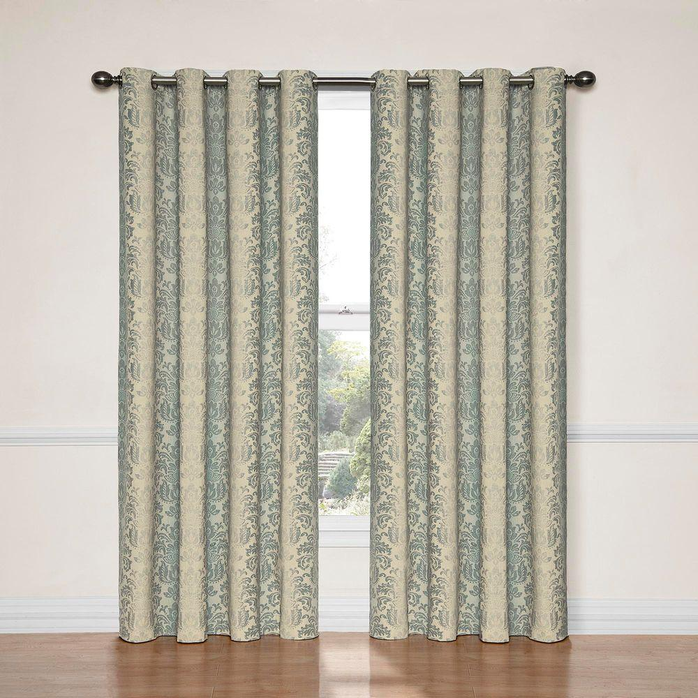 108 Inch Curtain Panels Eclipse Nadya Print Blackout Window Curtain Panel In Smokey Blue 52 In W X 95 In L