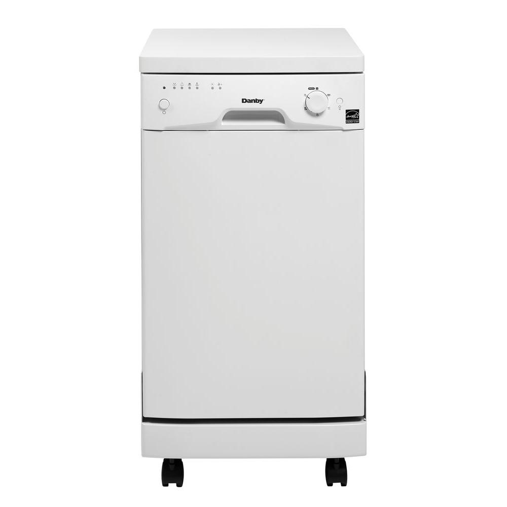 Danby 18 In Portable Dishwasher In White With 8 Place Setting Capacity Ddw1801mwp The Home Depot