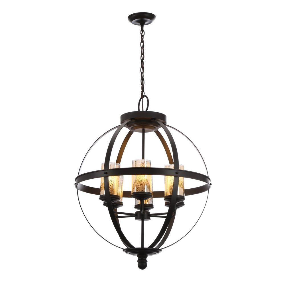 Sfera Online Shop Deutschland Sea Gull Lighting Sfera 24 5 In W 6 Light Autumn Bronze Chandelier With Mercury Glass Shade