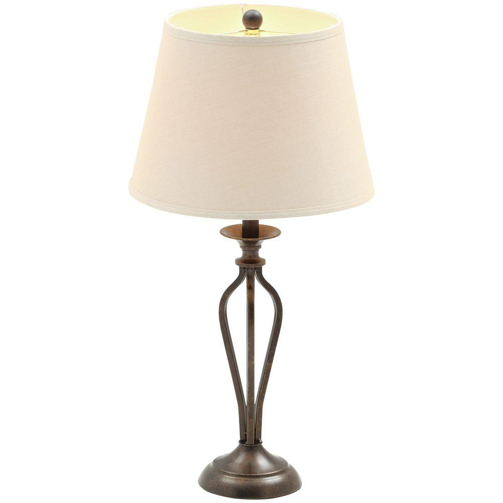 Hampton Bay Rhodes 28 in. Bronze Table Lamp with Natural