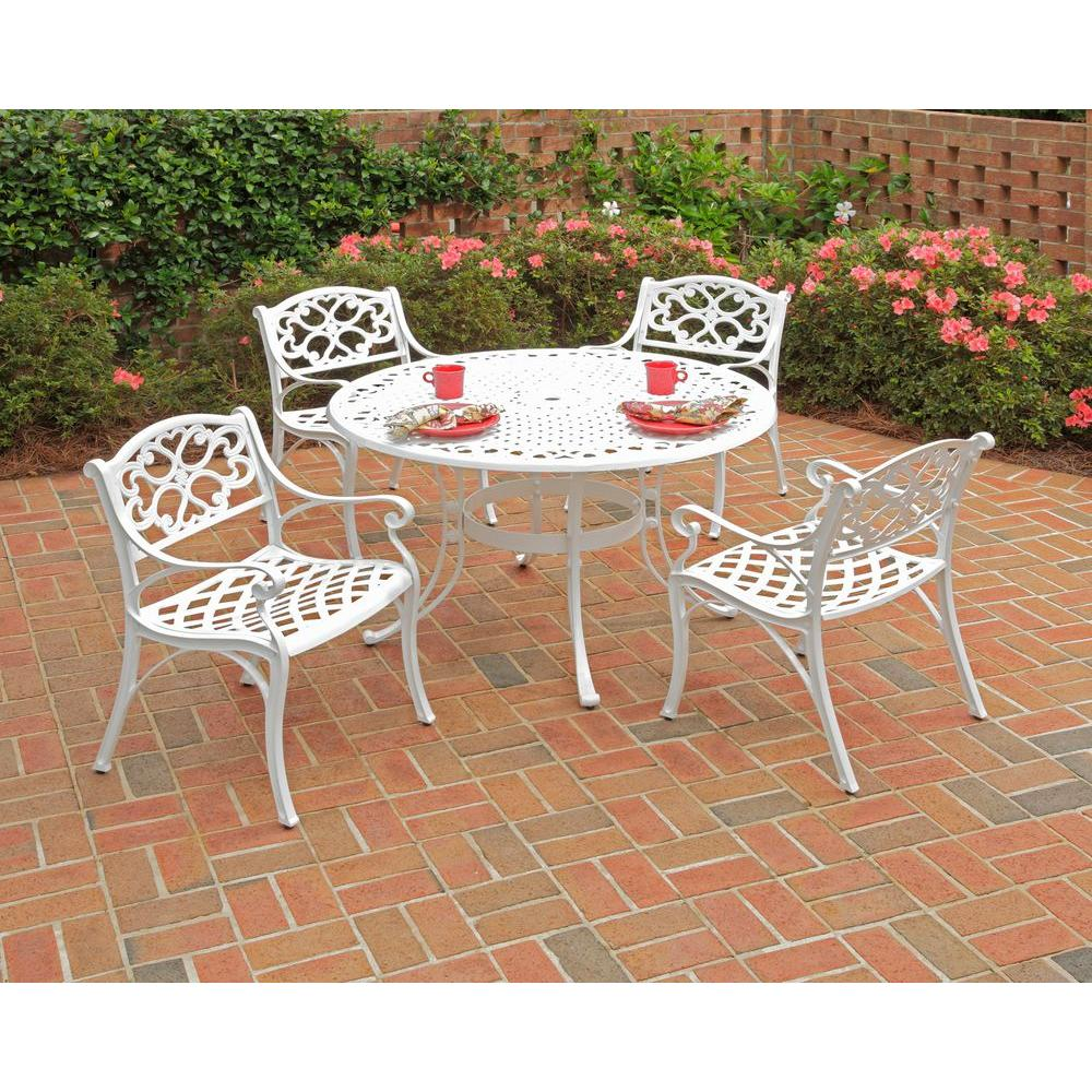 Round Table Patio Furniture Sets Home Styles 42 In Biscayne White 5 Piece Round Patio Dining Set