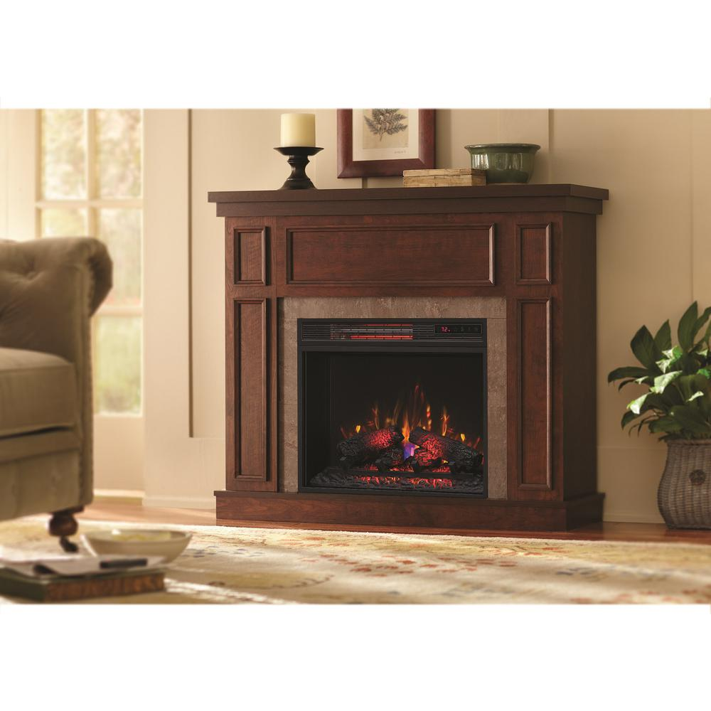 Cherry Fireplace Mantels Home Decorators Collection Granville 43 In Convertible Mantel Electric Fireplace In Antique Cherry With Faux Stone Surround