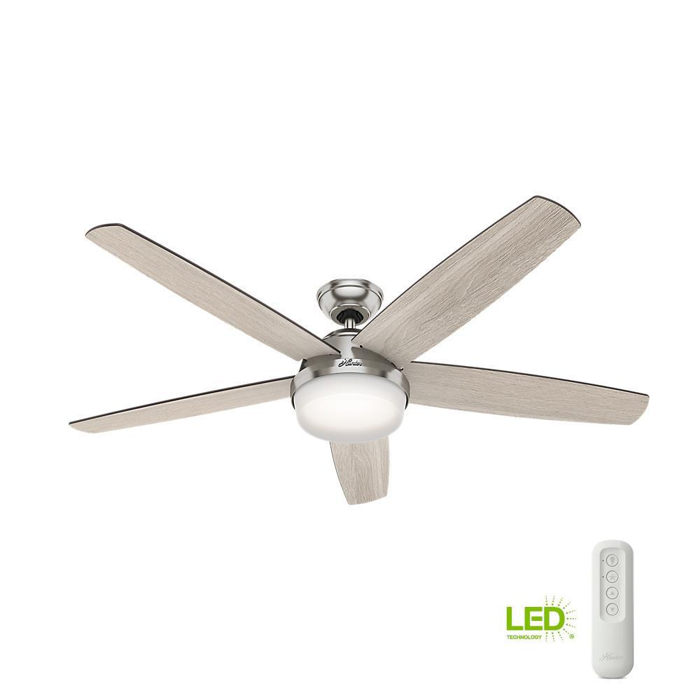 Large Indoor Fans Hunter Salido 60 In Led Indoor Brushed Nickel Ceiling Fan With Light And Remote