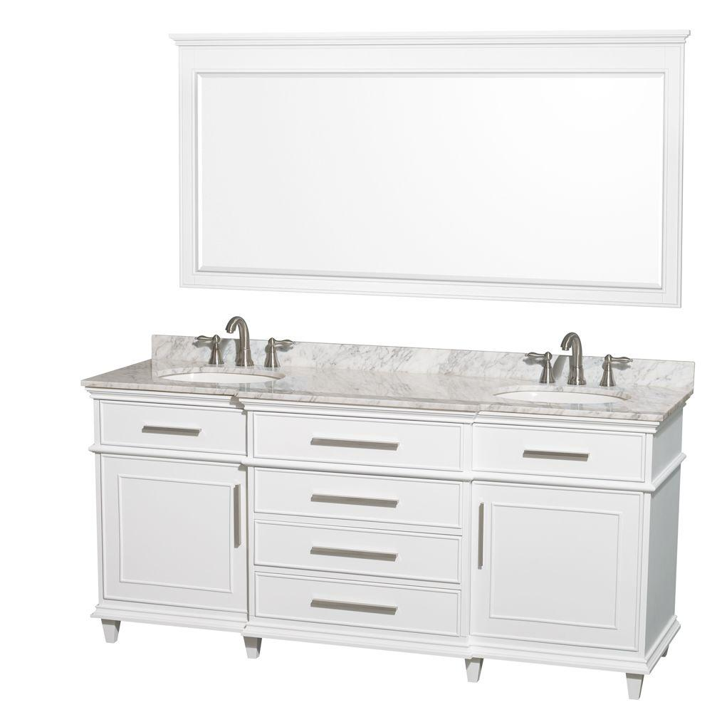 Bathroom Vanity 72 Double Sink Wyndham Collection Berkeley 72 In Double Vanity In White With Marble Vanity Top In Carrara White Oval Sink And 70 In Mirror