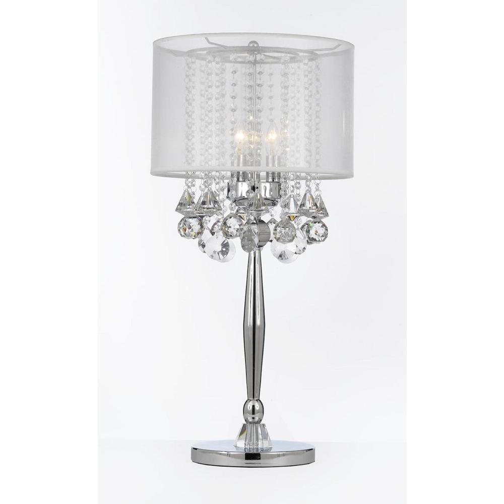Crystal Lamp Modern 29 In Silver Mist Table Lamp With Hanging Crystals