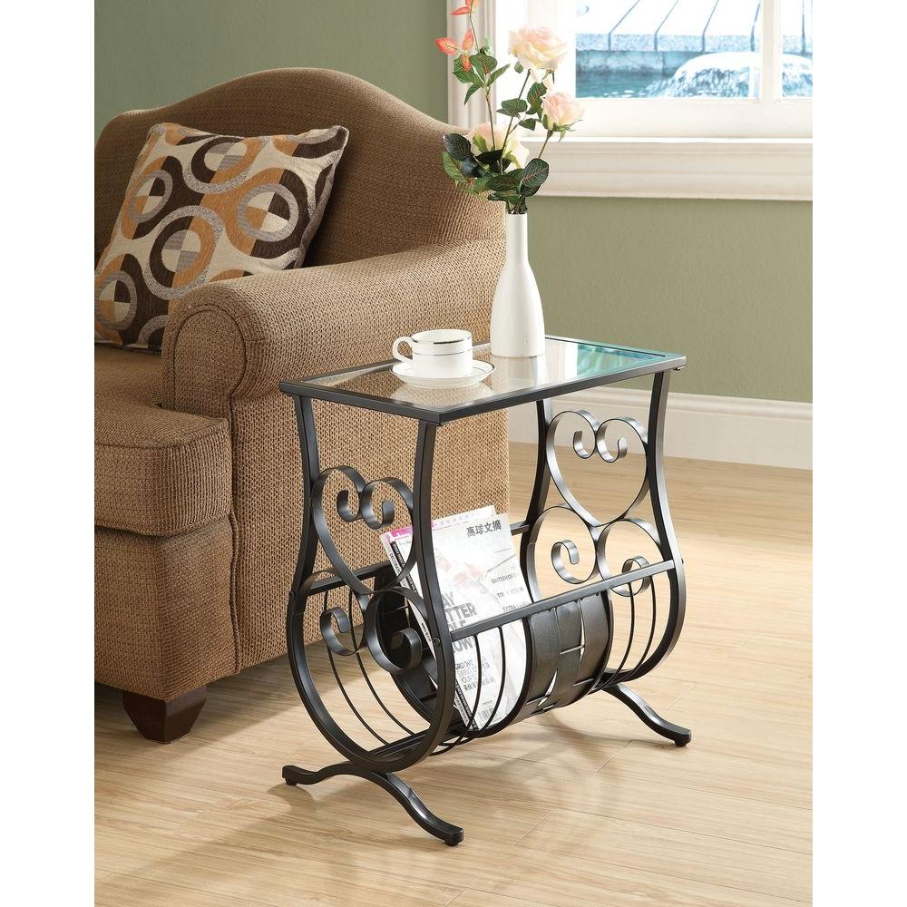 Metal Glass End Tables Satin Black Glass Top End Table