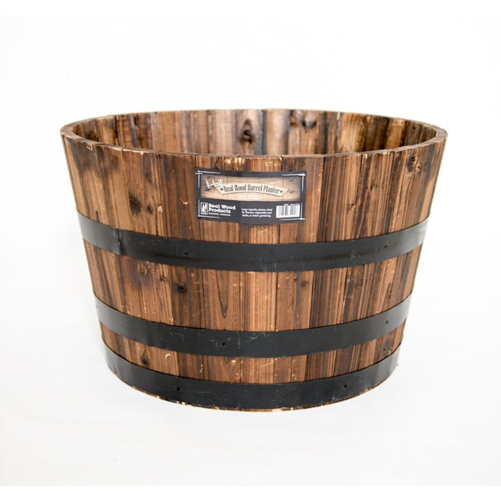 Outdoor Planters Near Me Real Wood 26 In Dia Cedar Half Whiskey Barrel Planter