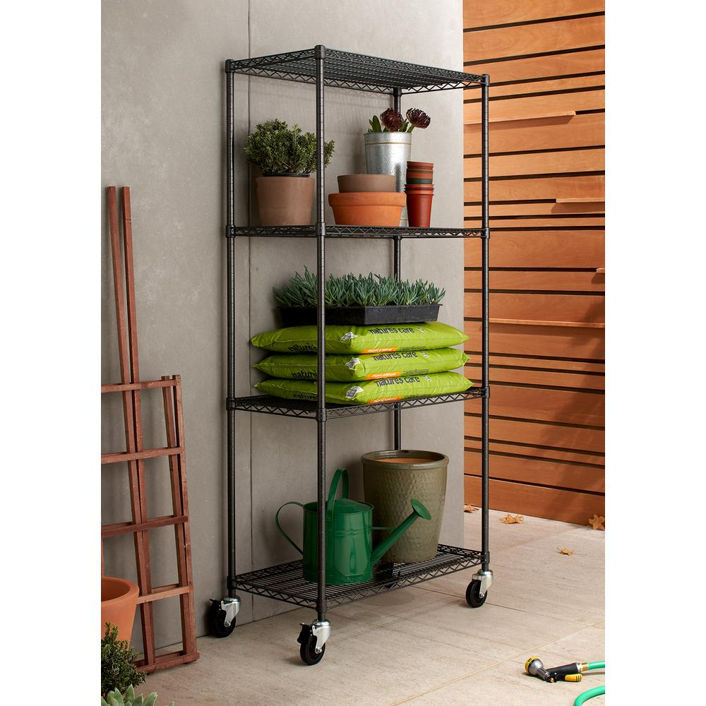 Garage Shelving Units Trinity Pro 18 In X 36 In X 77 In Black Anthracite 4 Tier Garage Shelving Unit With Wheels