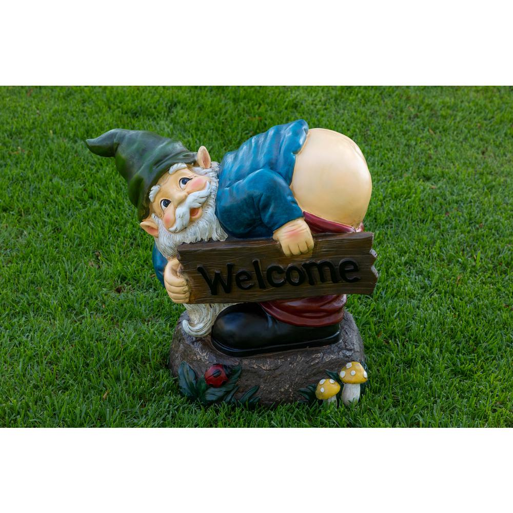 Welcome Statues Garden Alpine Corporation Mooning Gnome With Welcome Wood Sign Statue