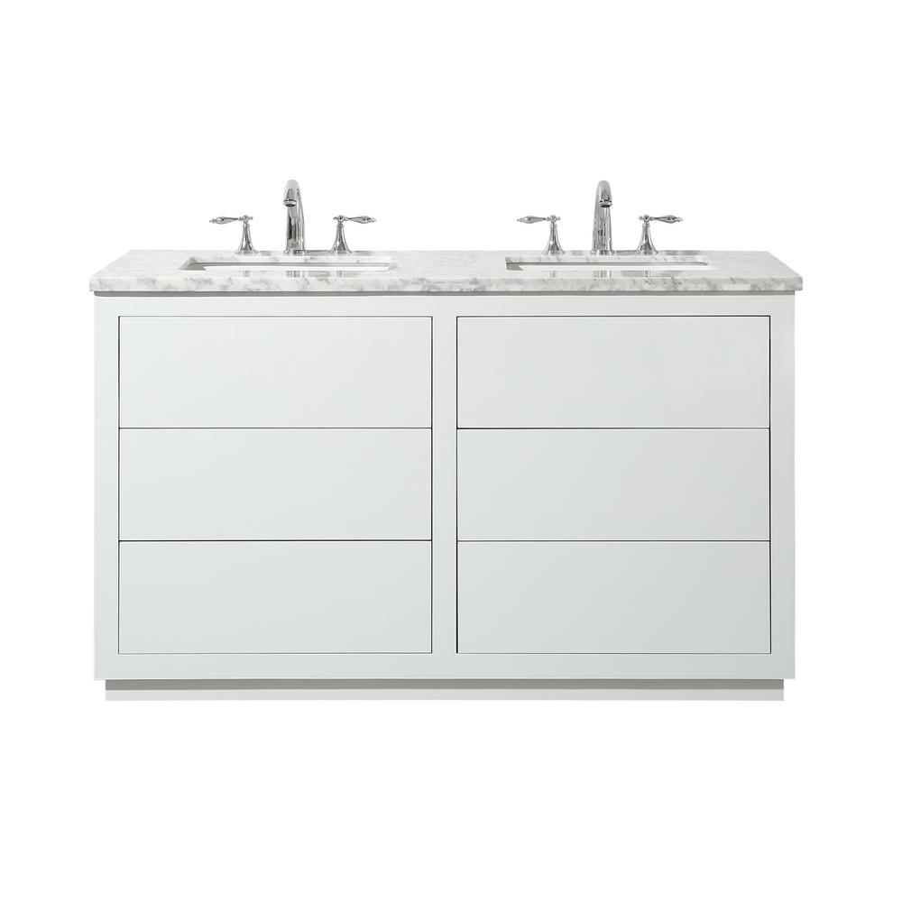 56 Bathroom Vanity Stufurhome Lang 56 In Bath Vanity In White With White Marble Vanity Top In White With White Basin