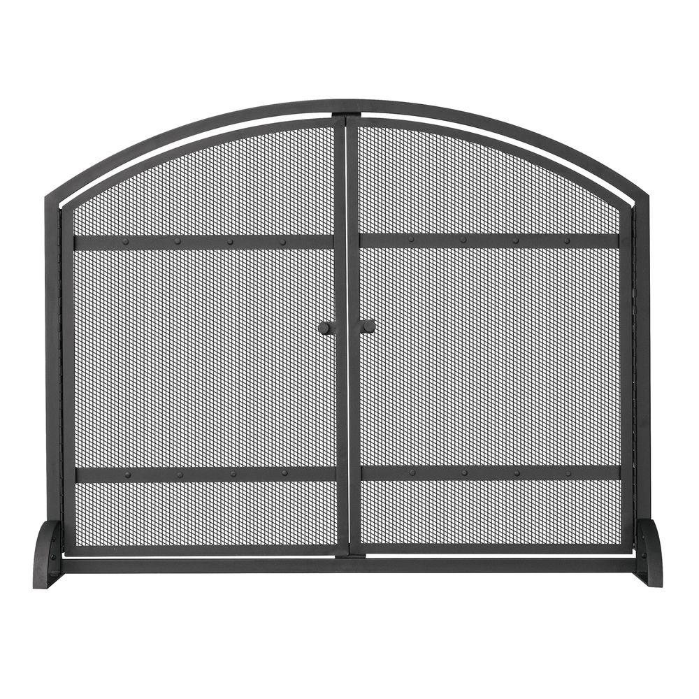Fireplace Screen Home Depot Uniflame 1 Panel Arch Top Black Wrought Iron Fireplace Screen With Doors
