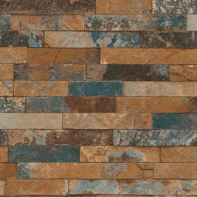 Washington Wallcoverings Multi Colored Faux Tile Vinyl Wallpaper-475104 - The Home Depot